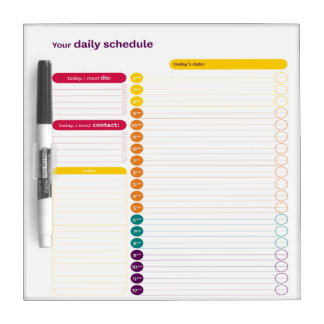 Your Daily Schedule Dry Erase Board