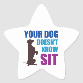 Your Dog Doesn't Know Sit Star Sticker