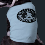 """Your Dog is an Official Sasquatch Hunter T-Shirt<br><div class=""""desc"""">This cute and funny pet t-shirt is perfect for doggies that believe in the legendary forest ape-like sasquatch creature known as Bigfoot. Bold black and white (transparent) circle shaped logo style design with block letters and a silhouette image of a squatch. Give your favorite bigfoot finding pooch a title and...</div>"""