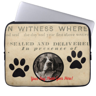 Your Dog Photo n Paws 1860 Legal Document Funny Computer Sleeve