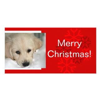 Your Dog Photo Snowflake Christmas Card Photo Greeting Card