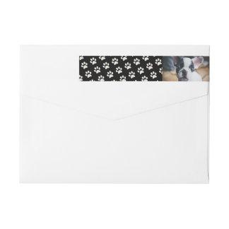Your Dog Photo with Paw Print Background Custom Wrap Around Label