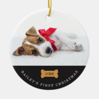 Your Dog's First Christmas | Charcoal with Photos Ceramic Ornament