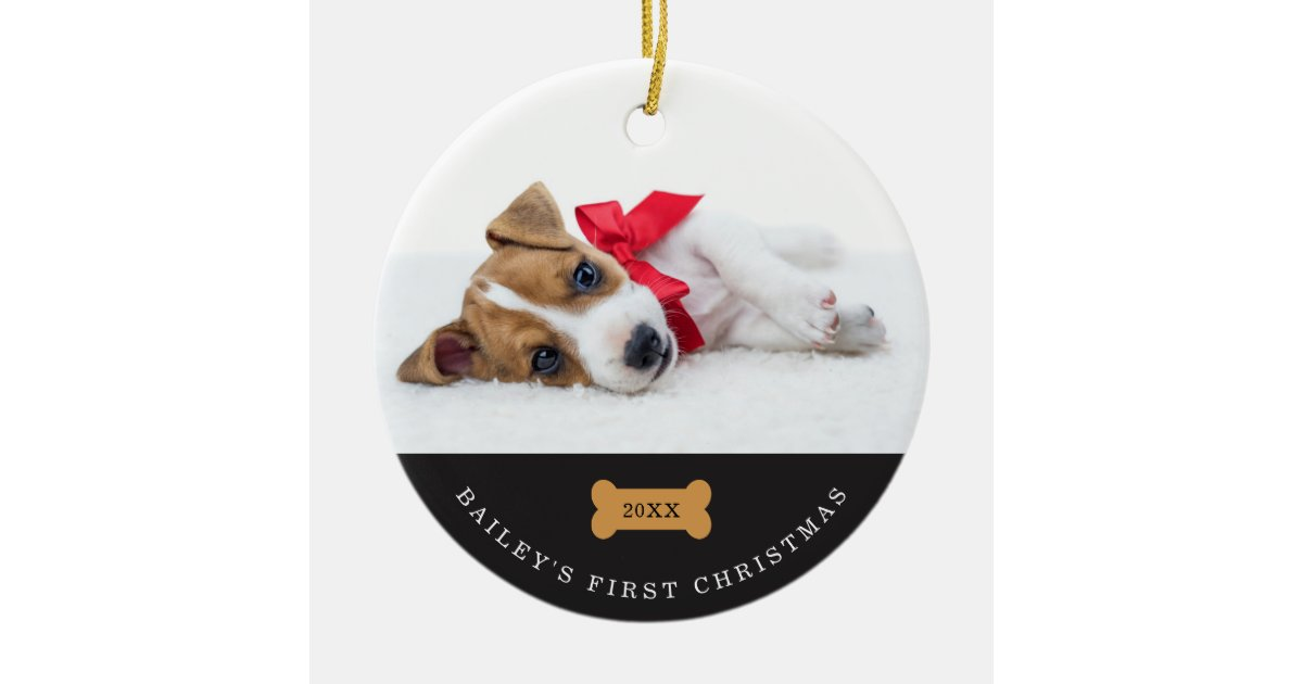 Dogs First Christmas Ornament.Your Dog S First Christmas Charcoal With Photos Ceramic Ornament