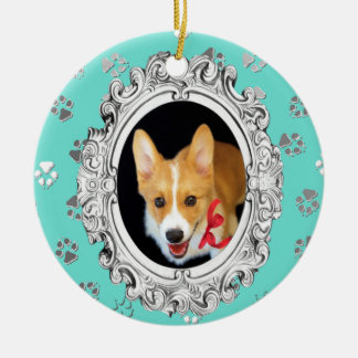 Your Dog's Photo Double-Sided Ceramic Round Christmas Ornament