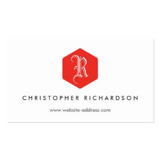 YOUR ELEGANT MONOGRAM LOGO IN RED & WHITE BUSINESS CARD