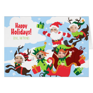 Your Face Here! Family of 5 Funny Christmas Card