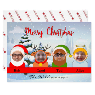 Your Family as Santa Reindeer Elf and Angel Photo Card