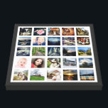 """Your Family Memories Custom 25 Photo Collage Canvas Print<br><div class=""""desc"""">Customized canvas wall art print with 25 of your own favorite photographs on white, with a contrasting colored border. The perfect gift for family or friends. Looks great with black and white or full color images. Use square photos for best results (great for instagram pics) but other sizes of photos...</div>"""