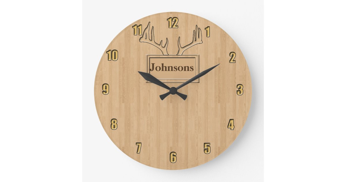 your family name personalized large clock zazzle