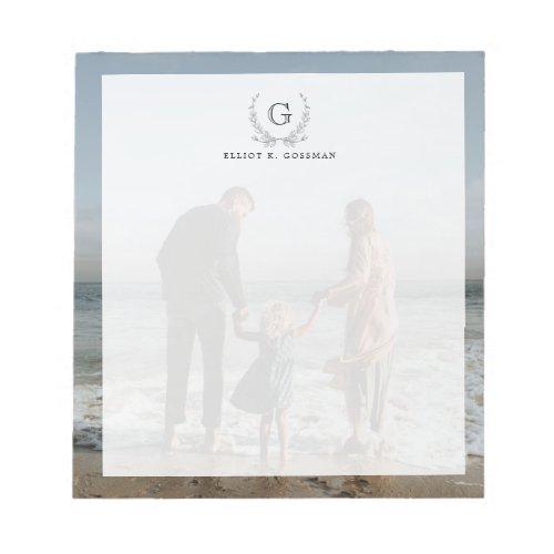 Your Family Photo Backdrop  Custom Monogram Notepad