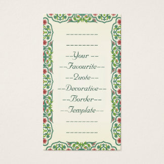 Your Favourite Quote Decorative Border Template Business Card
