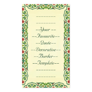 Your Favourite Quote Decorative Border Template Double-Sided Standard Business Cards (Pack Of 100)