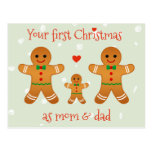 Your First Christmas as Mom & Dad  Gingerbread Men Postcard