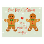 Your First Christmas Married -  Gingerbread Men Postcard