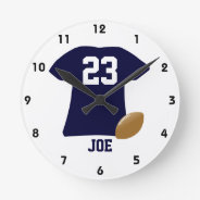 Your Football Shirt With Ball Round Wall Clocks at Zazzle