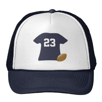 Your Football Shirt With Ball Trucker Hat by DigitalDreambuilder at Zazzle
