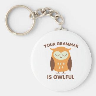 Your Grammar Is Owlful Keychain