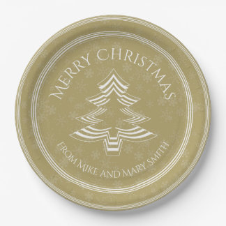Your Greeting - Gold/White Christmas Tree Font Paper Plate