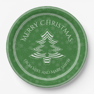 Your Greeting - Green/White Christmas Tree Font Paper Plate