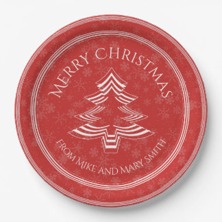 Your Greeting - Red/White Christmas Tree Font Paper Plate