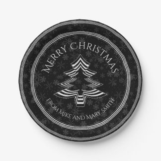 Your Greeting - White/Black Christmas Tree Font Paper Plate