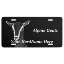 YOUR HERD NAME Alpine Goats Drawing License Plate