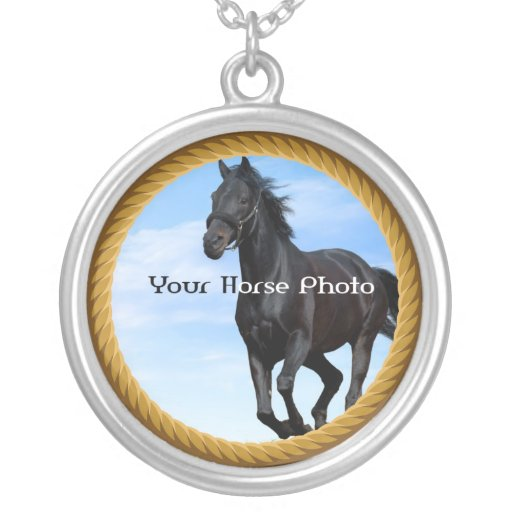 Your Horse Photo in Rope Frame Necklace