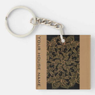 """""""Your house name"""", brown pattern, monogram Keychain"""