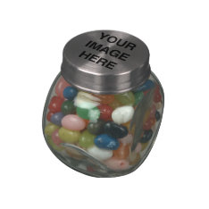 YOUR IMAGE HERE -.png Glass Candy Jars at Zazzle