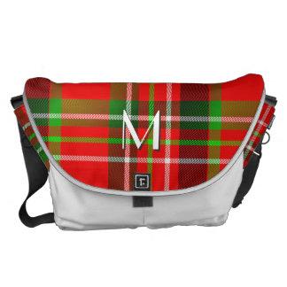 Your Initial - Christmas Tartan Pattern Plaid Messenger Bag