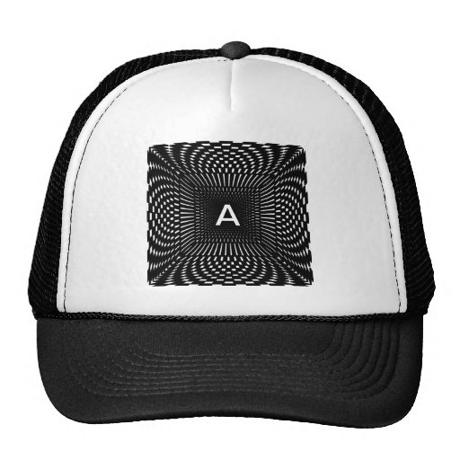 Your Initial - Distorted Black and White Checks Mesh Hats