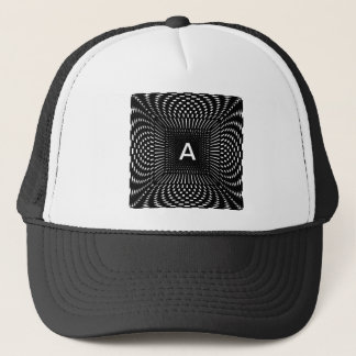 Your Initial - Distorted Black and White Checks Trucker Hat
