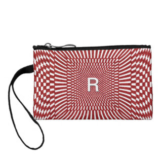 Your Initial - Distorted Red and White Checks Coin Wallet
