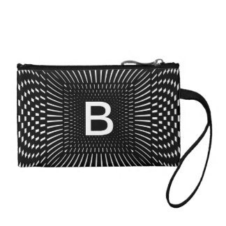 Your Initial - Geometric Black and White Checks Coin Purse