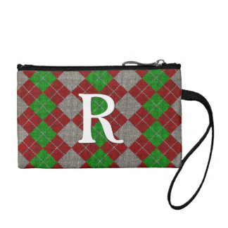 Your Initial - Knit Christmas Argyle Pattern Change Purse