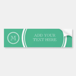 Your Initial Mint Green High End Colored Car Bumper Sticker