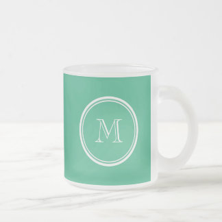 Your Initial Mint Green High End Colored Frosted Glass Coffee Mug