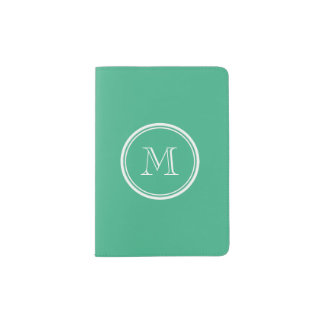 Your Initial Mint Green High End Colored Passport Holder