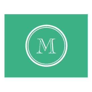 Your Initial Mint Green High End Colored Postcard