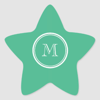 Your Initial Mint Green High End Colored Star Sticker