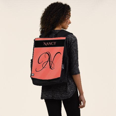 Your Initial Quirky Wavy Pattern Coral Texture Backpack