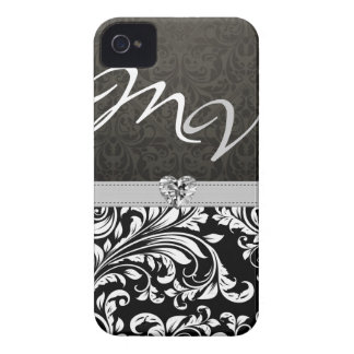 """your initials"" Elegant Damask with Diamond Case-Mate iPhone 4 Case"