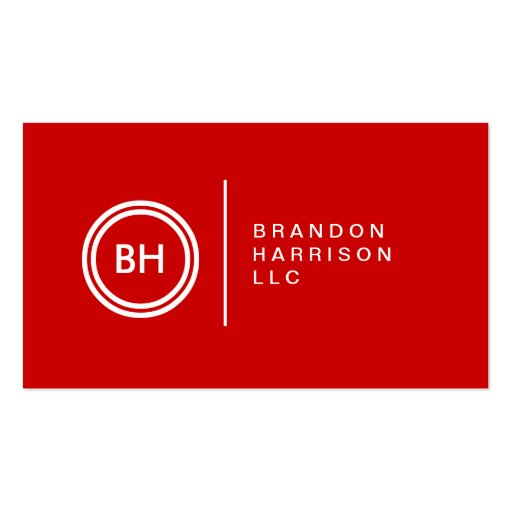 YOUR INITIALS LOGO on RED No. 2 Business Card