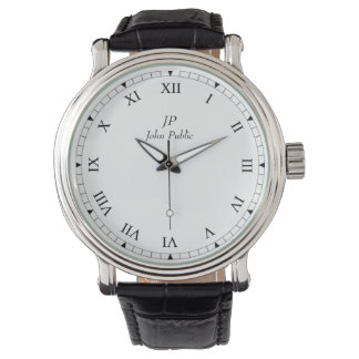 Your Initials Monogram with Roman Clock Face Wrist Watch