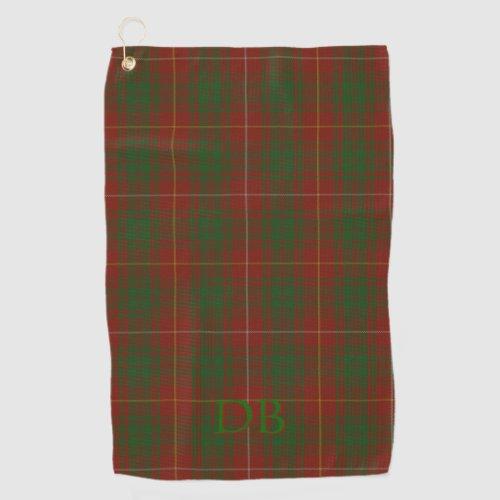 Your initials on Bruce Clan tartan Golf Towel