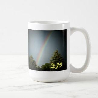 "Your Initials on ""Rainbow over Evergreen"" Classic White Coffee Mug"
