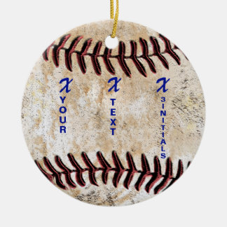 YOUR INITIALS with NAME Unique Baseball Ornament