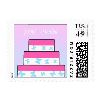 Your Invited Butterfly Wedding Cake Postage