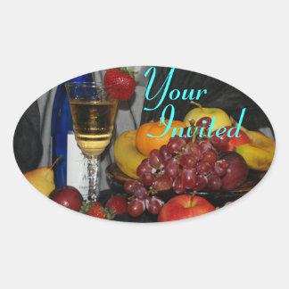Your Invited / Still Life Oval Sticker
